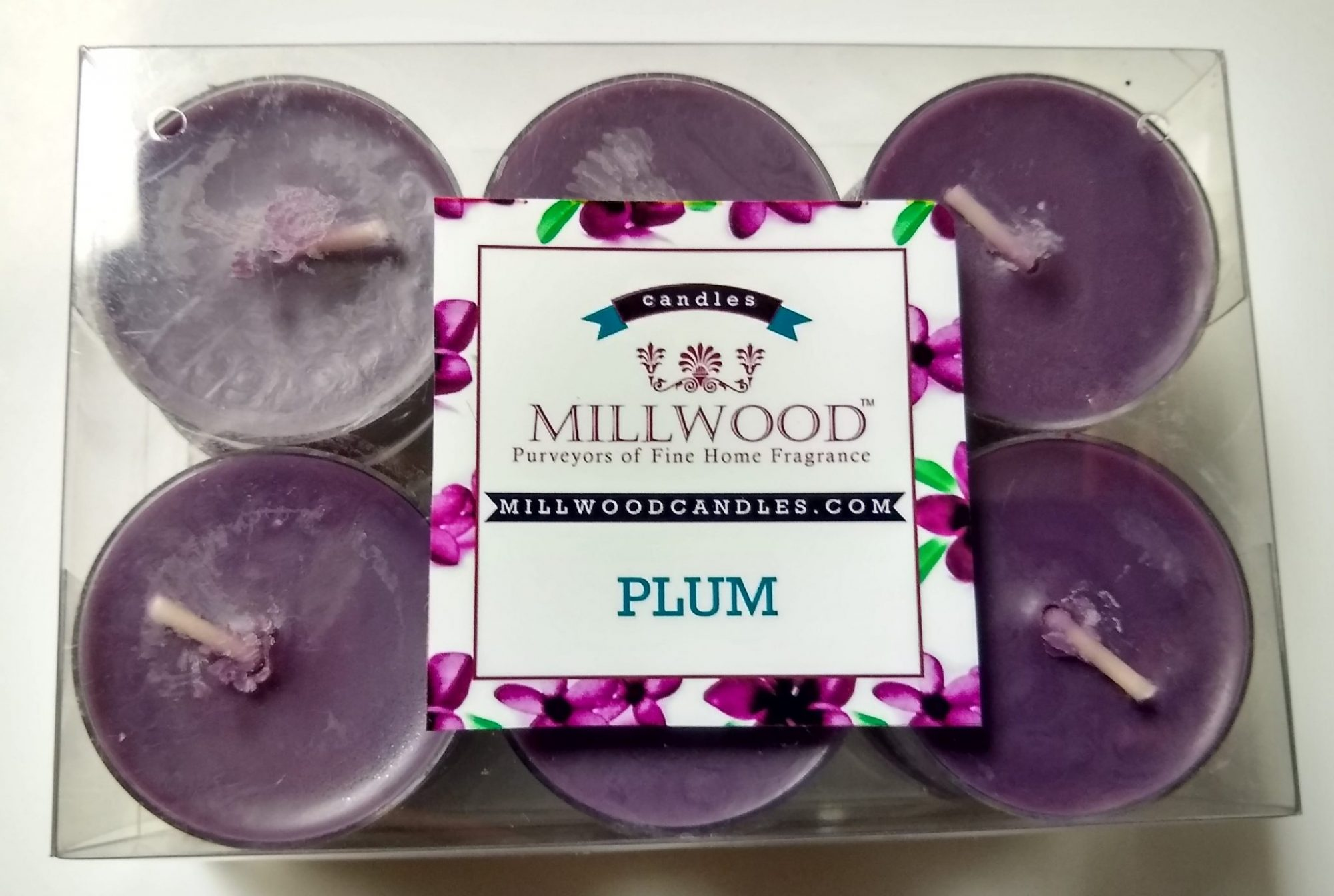 12 pack Millwood Candles Plum tealights