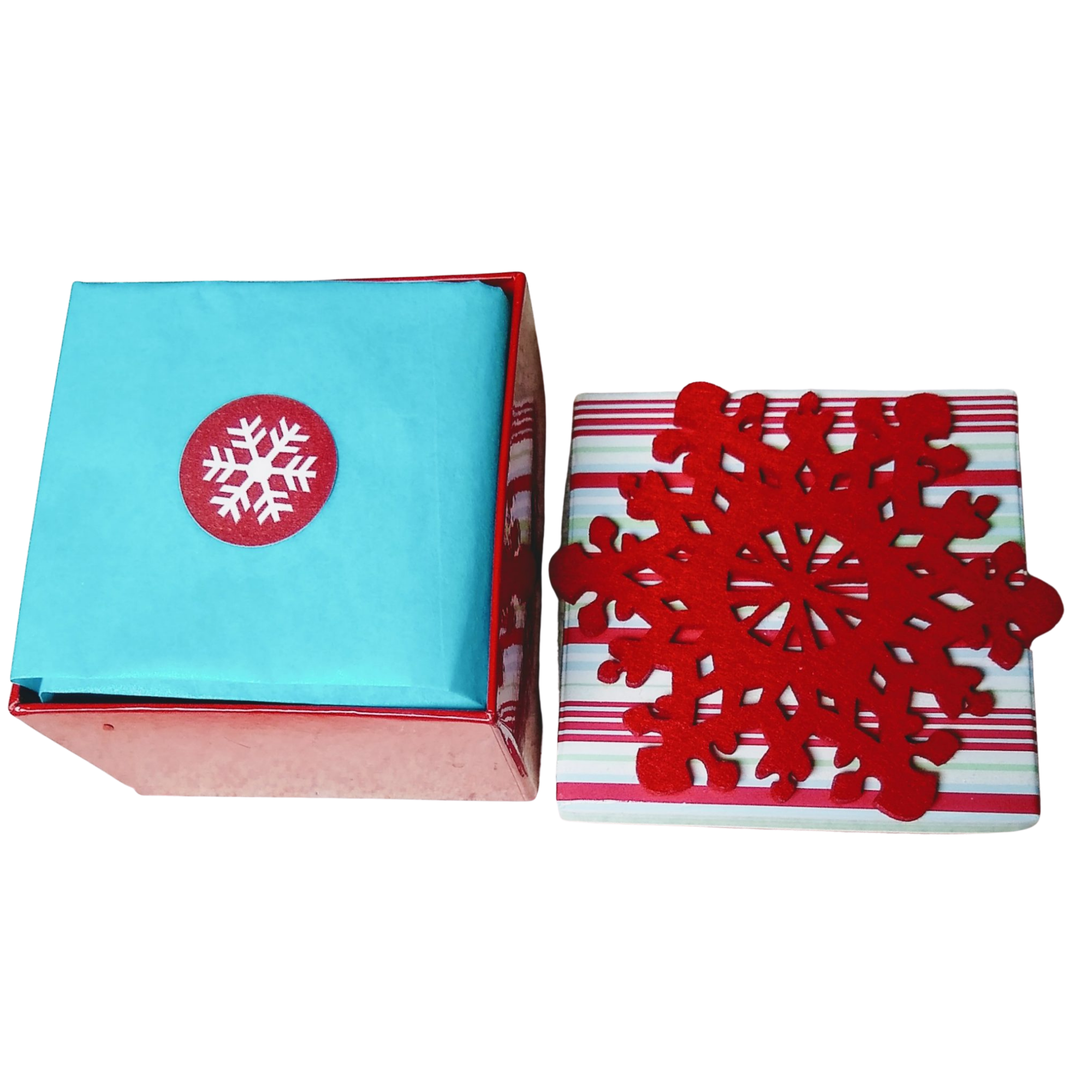 Snowflake Candle Box Includes Candles and Holders