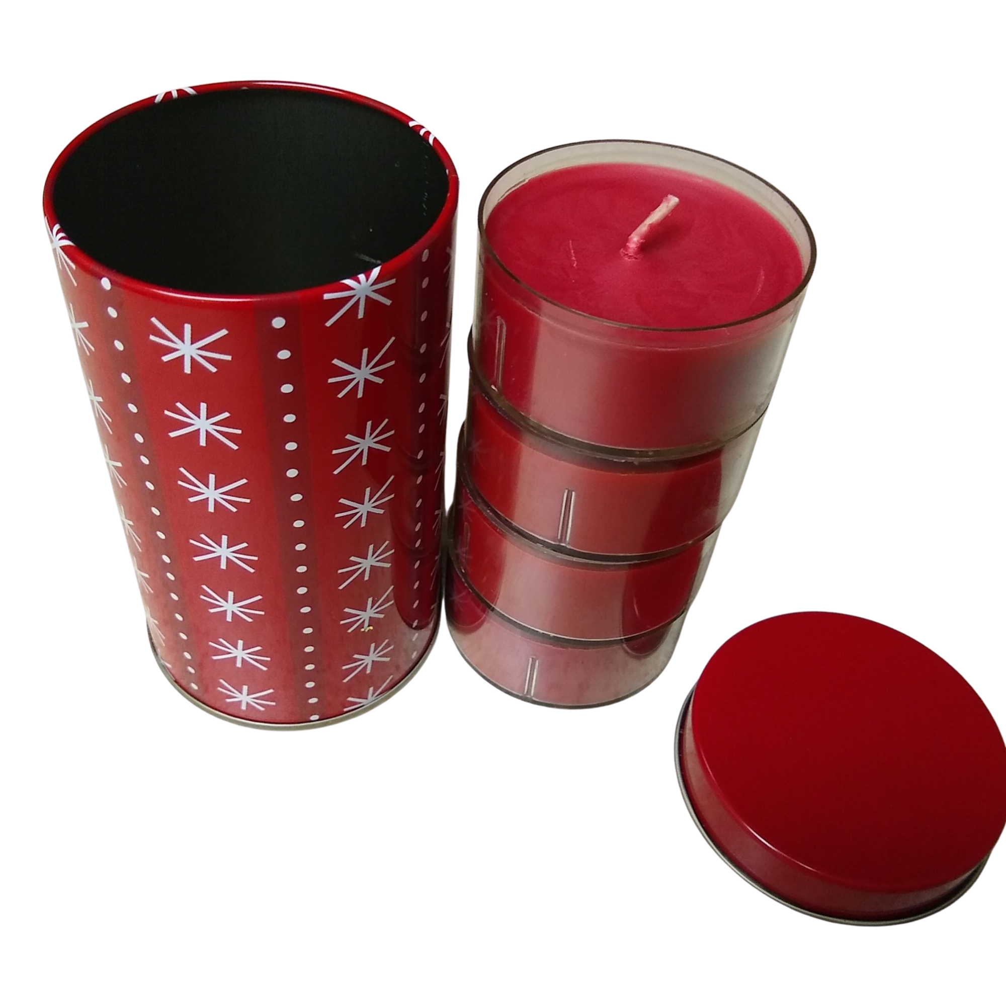 Snowflake Tin with Votive Candles