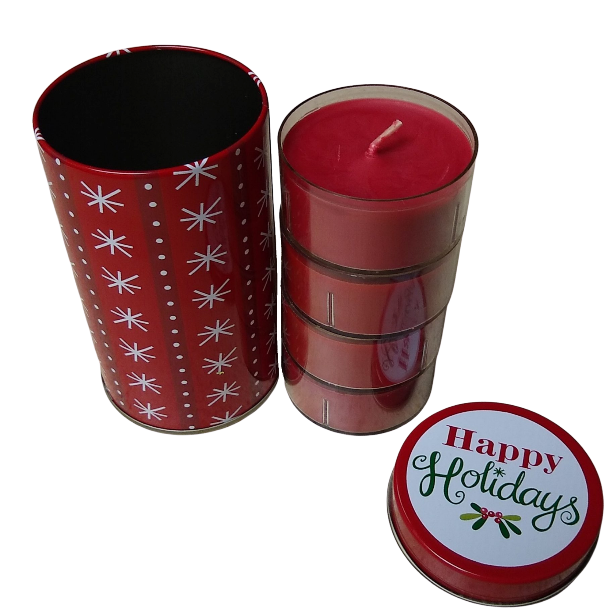 Snowflake Tin with Candles