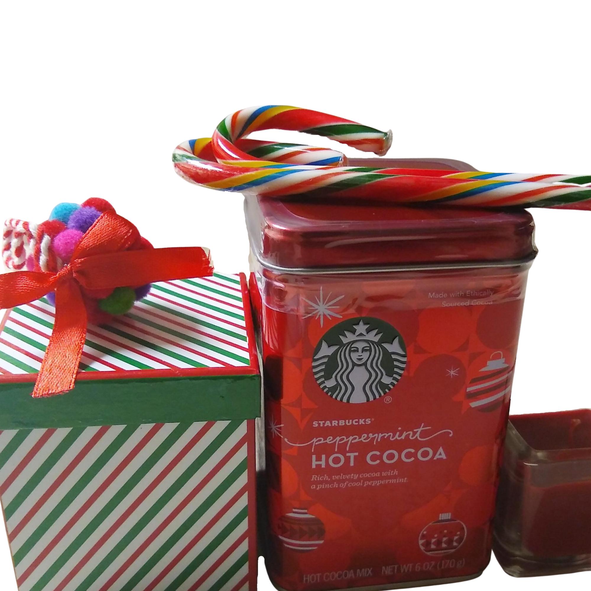 Striped Holiday Pom Pom Box Set with Starbucks Cocoa