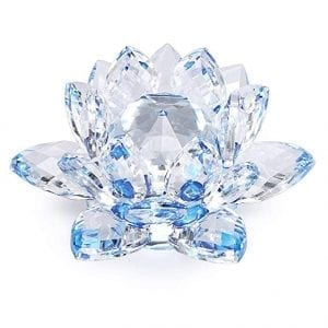 blue crystal lotus flower votive candle holder