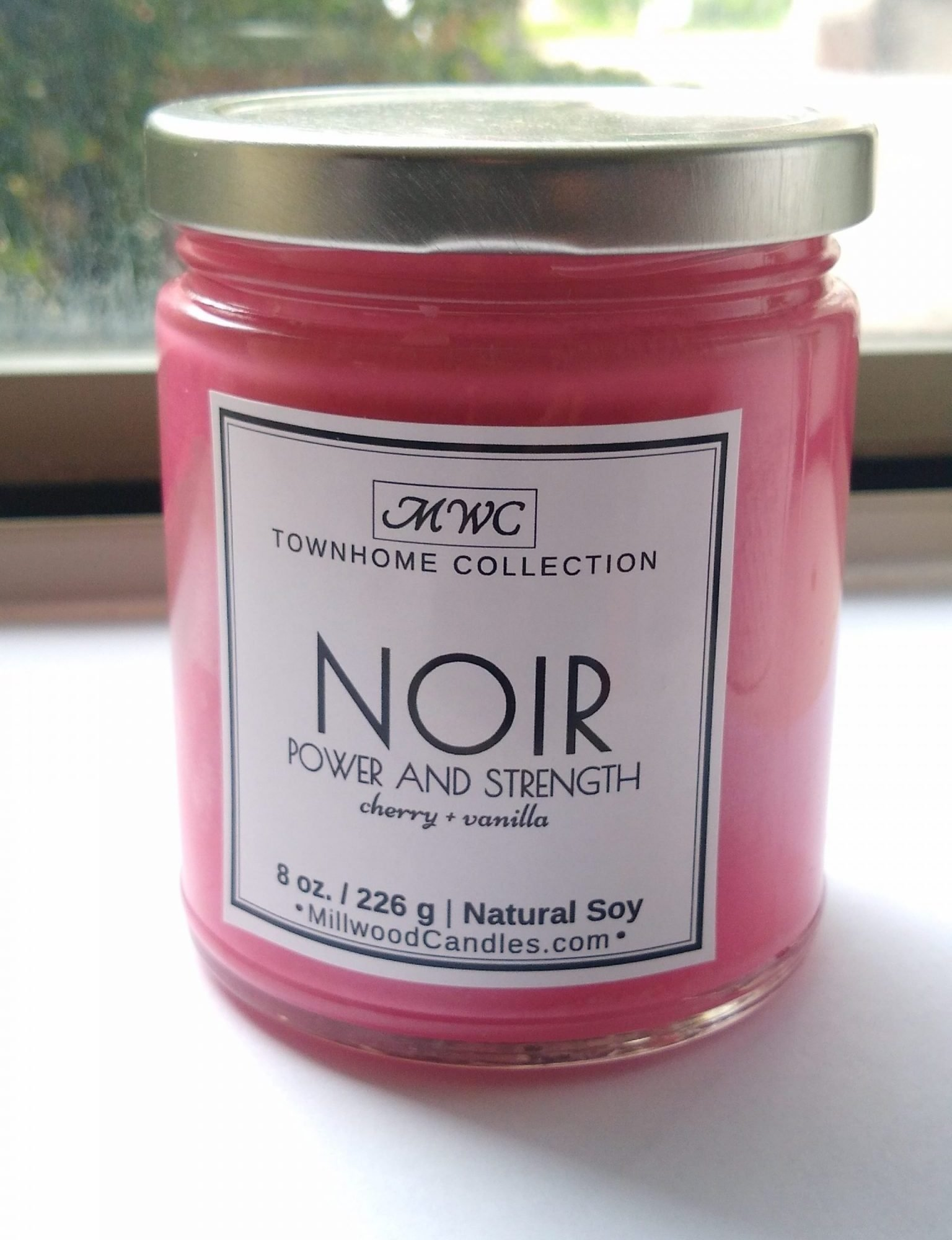 NOIR Black Cherry Natural Soy Candle from Millwood Candles