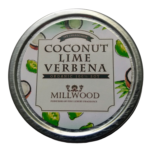 Coconut Lime Verbena Natural Soy Candle 2 ounce Millwood Candles