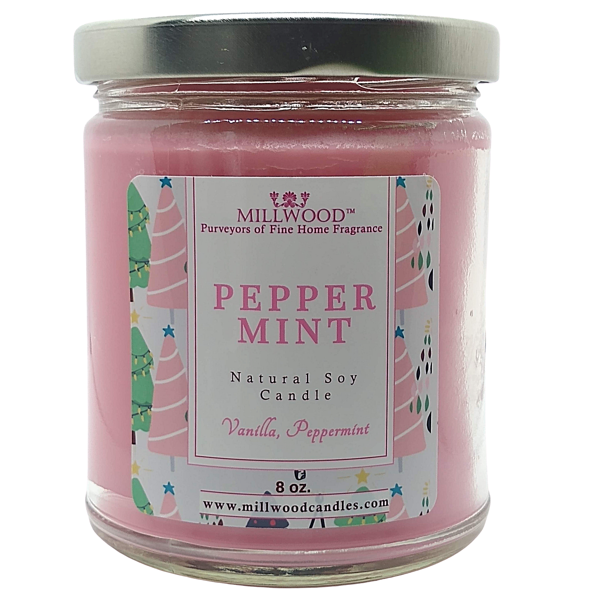 Peppermint Candy Cane soy candle by Millwood Candles