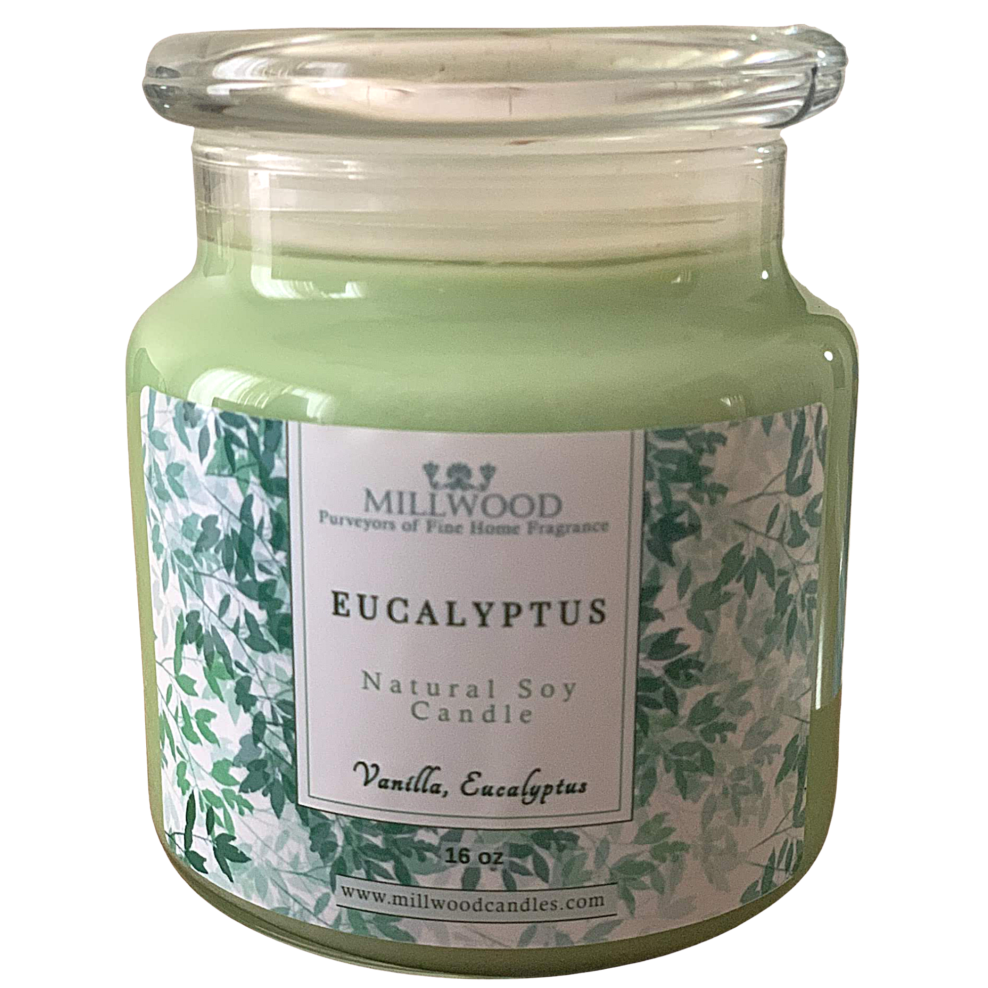 Eucalyptus Soy Candle Organic. 100% Soy. Made in the USA Millwood Candles